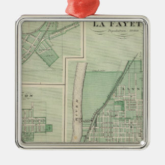 Plan of La Fayette with Battle Ground City Metal Ornament