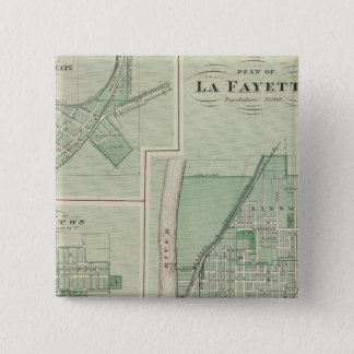 Plan of La Fayette with Battle Ground City Pinback Button