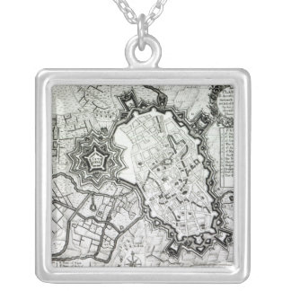 Plan of Lisle, 1736 Square Pendant Necklace