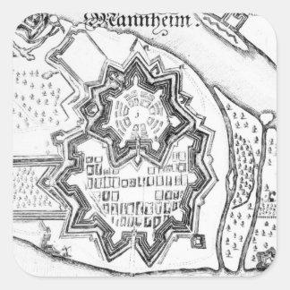 Plan of Mannheim, Germany 1690 Square Sticker