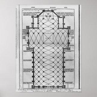 Plan of Milan Cathedral Poster