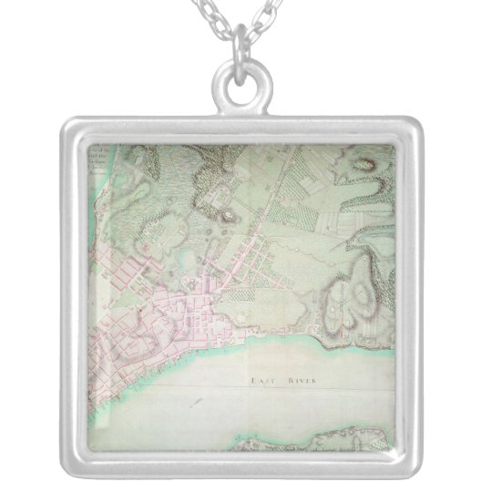 Plan of New York, 1776 Silver Plated Necklace
