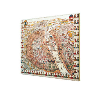 Plan of Paris bordered by a chronological Canvas Print