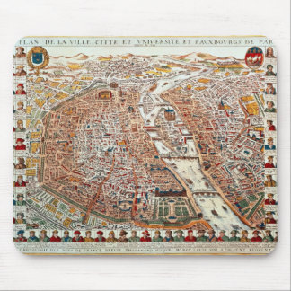 Plan of Paris bordered by a chronological Mouse Pad