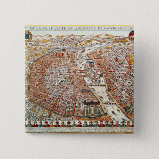 Plan of Paris bordered by a chronological Pinback Button