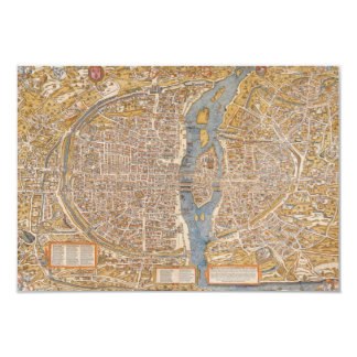 Plan of Paris by Truschet et Hoyau Circa 1550 Custom Invite