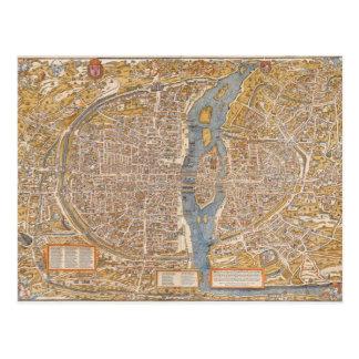 Plan of Paris by Truschet et Hoyau Circa 1550 Postcard