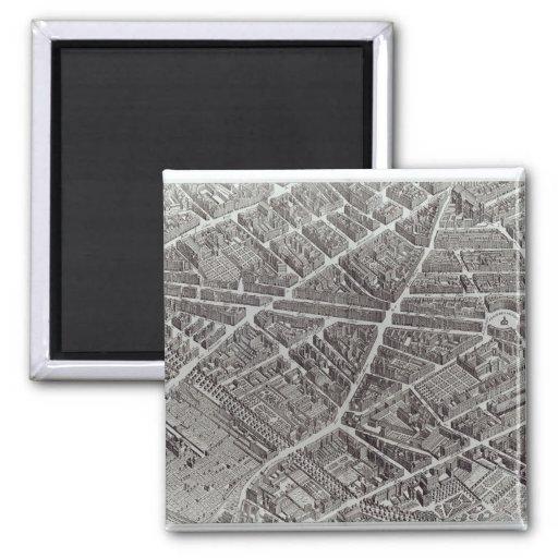 Plan of Paris, known as the 'Plan de Turgot' 2 Inch Square Magnet