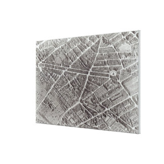Plan of Paris, known as the 'Plan de Turgot' Canvas Print