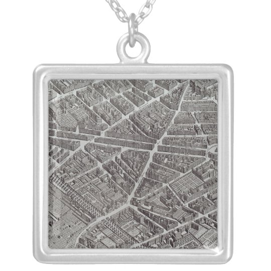 Plan of Paris, known as the 'Plan de Turgot' Silver Plated Necklace