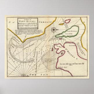 Plan of Port Royal Harbour in Carolina Poster