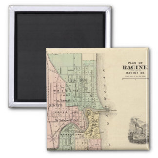 Plan of Racine, county seat of Racine Co 2 Inch Square Magnet