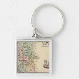 Plan of Racine, county seat of Racine Co Silver-Colored Square Keychain