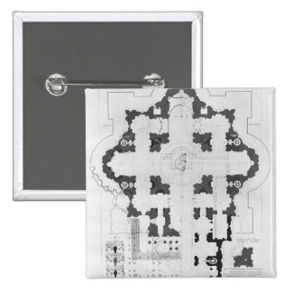 Plan of St. Peter's Basilica 2 Inch Square Button