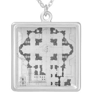 Plan of St. Peter's Basilica Silver Plated Necklace
