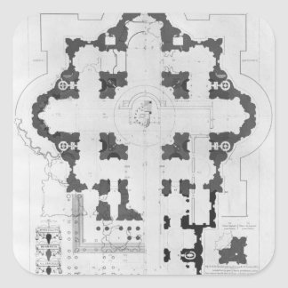 Plan of St. Peter's Basilica Square Sticker