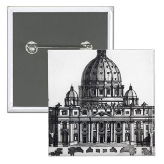 Plan of St. Peter's, Rome, engraved by Pinback Button