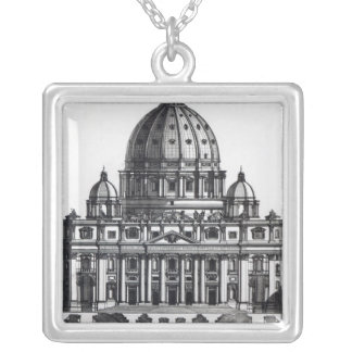 Plan of St. Peter's, Rome, engraved by Square Pendant Necklace
