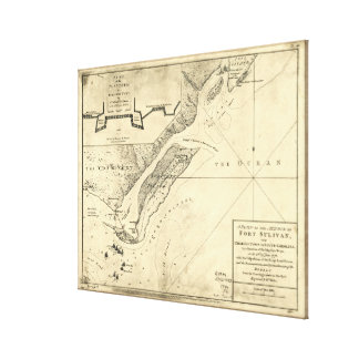 Plan of the Attack Fort Sulivan Map (June 28 1776) Canvas Print