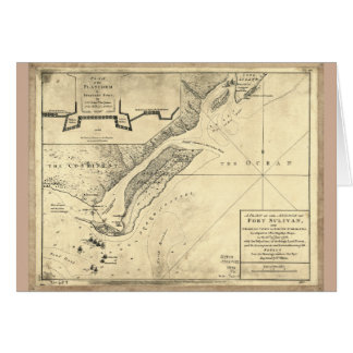 Plan of the Attack Fort Sulivan Map (June 28 1776) Card