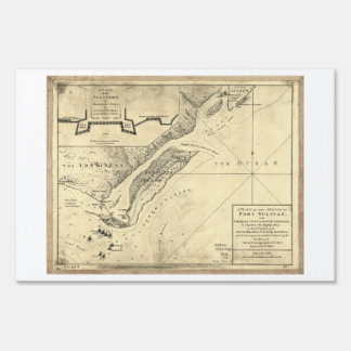 Plan of the Attack Fort Sulivan Map (June 28 1776) Lawn Sign