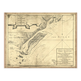 Plan of the Attack Fort Sulivan Map (June 28 1776) Postcard