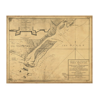 Plan of the Attack Fort Sulivan Map (June 28 1776) Wood Wall Art