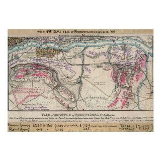 Plan of the Battle of Fredericksburg Print