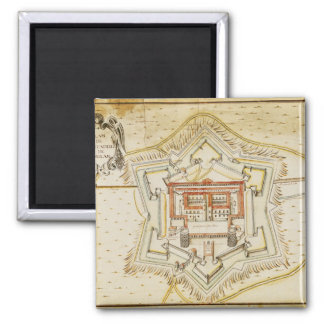 Plan of the citadel of Milan 2 Inch Square Magnet