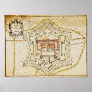 Plan of the citadel of Milan Posters
