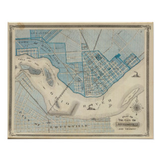 Plan of the City of Jeffersonville and vicinity Poster