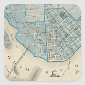 Plan of the City of Jeffersonville and vicinity Square Stickers