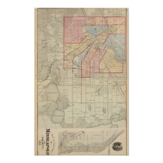 Plan of the City of Minneapolis and Vicinity Poster