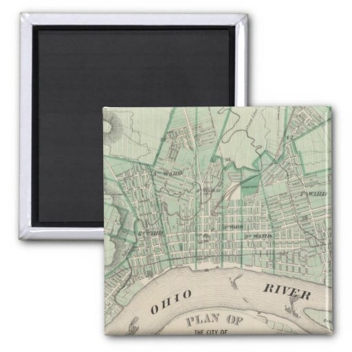 Plan of the City of New Albany, Floyd Co, Indiana 2 Inch Square Magnet