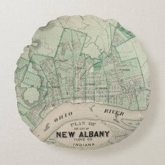 Plan of the City of New Albany, Floyd Co, Indiana Round Pillow