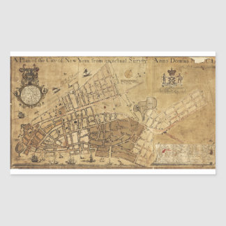 Plan of the City of New York Map (1755) Rectangular Sticker