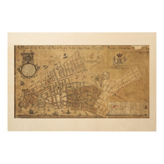 Plan of the City of New York Map (1755) Wood Print