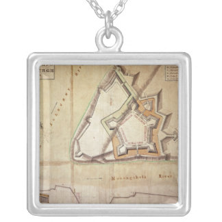 Plan of the New Fort at Pittsburgh Silver Plated Necklace