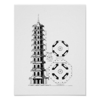 Plan of the Pagoda at Kew, from 'Jardins Anglo-Chi Poster