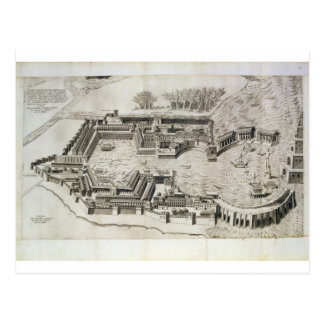 Plan of the port of Ostia Antica, engraved by the Postcard
