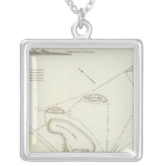Plan of the Port of Veracruz Silver Plated Necklace
