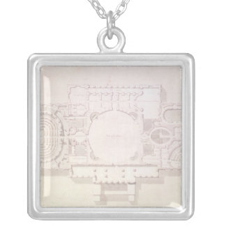 Plan of the Principal Story of the Capitol, Silver Plated Necklace
