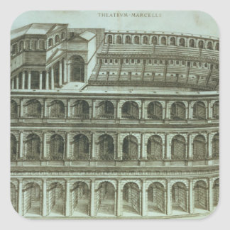 Plan of the Theatre of Marcellus, Rome, 1558 (engr Square Sticker
