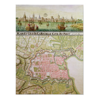 Plan of the town of La Rochelle, 1736 Poster