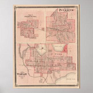 Plan of Warsaw with Pierceton, Plymouth Poster
