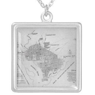 Plan of Washington D.C. Square Pendant Necklace