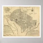 Plan of Washington DC Map 1792 Poster