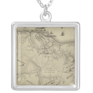 Plan of York Town In Virginia And Adjacent Country Silver Plated Necklace