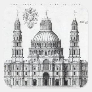 Plan para San Pedro, Roma, 1539 Pegatina Cuadrada