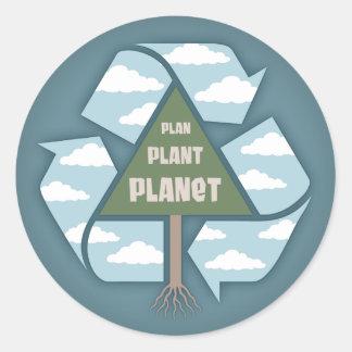 Plan-Planta-Planeta Pegatinas Redondas